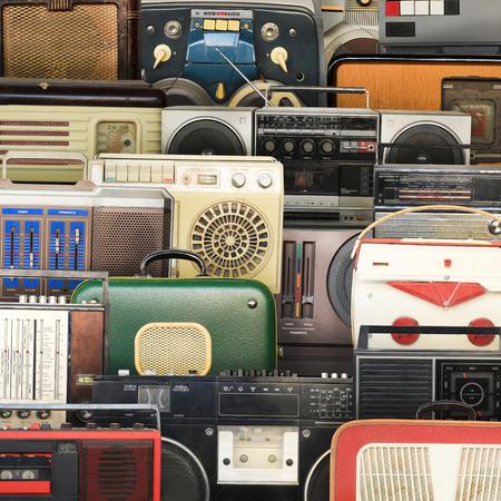 Retro recorder, audio system, collage of music, background Stock fotó