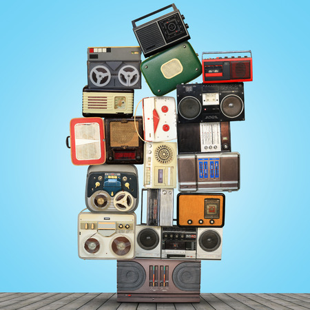 Retro recorder, audio system, collage of music photo