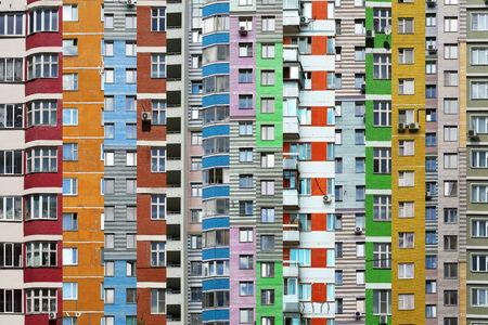 Big house, city life, windows and balconies Stock Photo