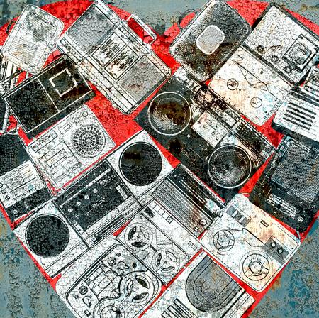 tape recorder: Collage de la música, el color y el fondo musical brillante Foto de archivo