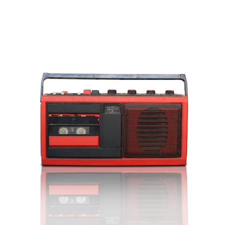 tape recorder: Grabadora retro, sistema de audio en el fondo blanco