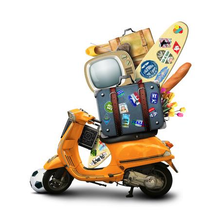 Oranje retro scooter met bagage, op een witte achtergrond