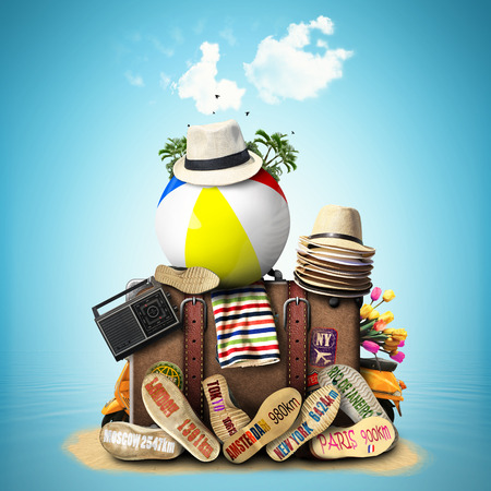 Travel, retro suitcase with travel hats and old shoes photo