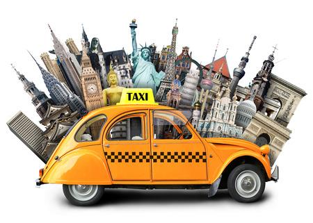 Retro taxi on the background of landmarks, travel Stockfoto