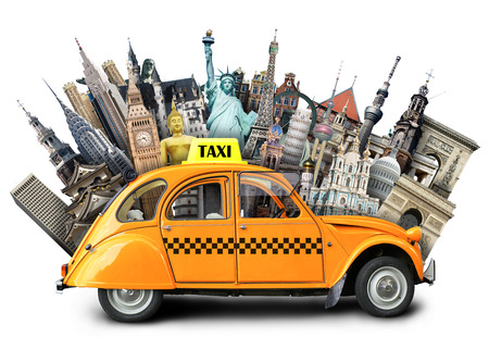 Retro taxi on the background of landmarks, travel Banque d'images