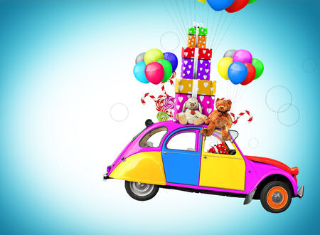 Colorful car with gifts and toys, holiday photo