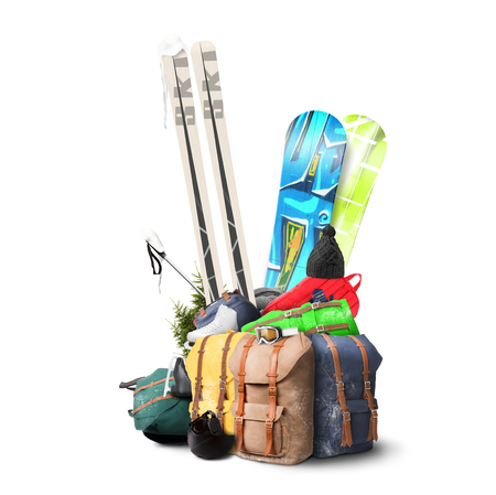 Baggage tourist skier and snowboarder, winter travel photo