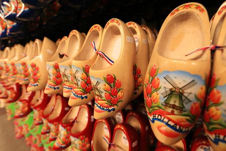 wooden shoes: Dutch Souvenirs, a bunch of colored wooden shoes