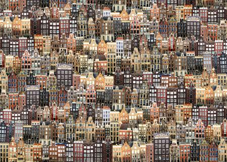 アムステルダム、オランダの家屋や通り、シティ ビュー 写真素材
