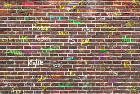 names: ?hildrens names written on a brick wall