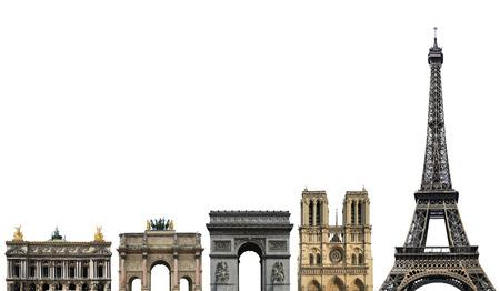 France, landmark of Paris, on a white background Фото со стока