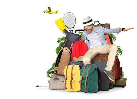 Travel and tourism, the guy on the bags and suitcases Banque d'images