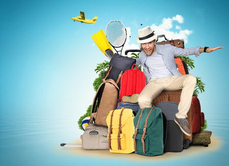 Travel and tourism, the guy on the bags and suitcases Standard-Bild