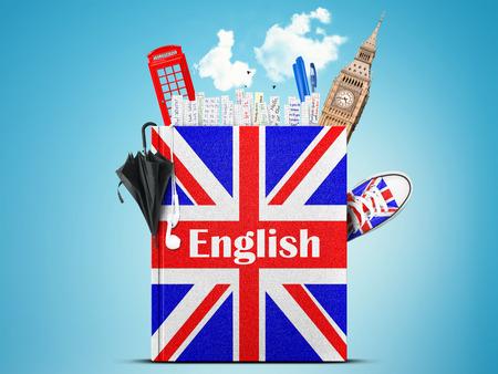 bandera inglesa: Idioma en Ingl�s Foto de archivo