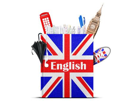 bandiera inglese: Libro di testo di lingua inglese con la bandiera britannica e ombrellone Archivio Fotografico