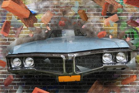 Achtergrondkleur van de straat graffiti op een bakstenen muur Stockfoto