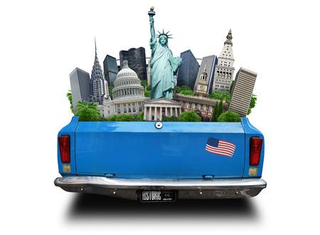 アメリカ合衆国、移動中の車のトランクにアメリカ観光スポット