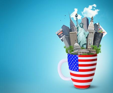미국, 미국 국기와 함께 컵에서 미국의 랜드 마크