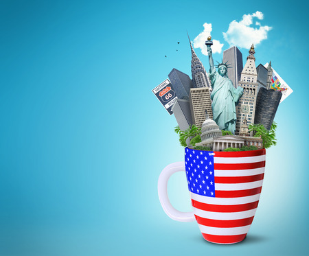 USA, landmarks of the USA in the Cup with the American flag