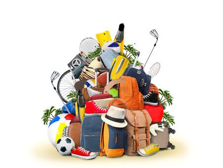Vakantie en reizen, een enorme stapel van dingen voor de vakantie