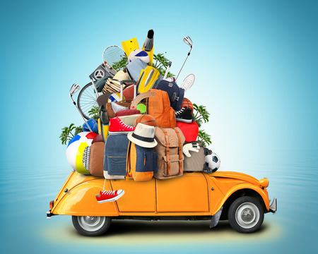 holiday gathering: Vacation and travel, a huge pile of things for the holiday