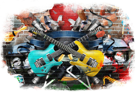 Collage of music, color and bright musical background photo