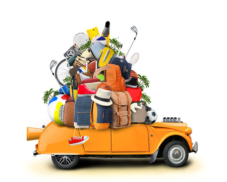 Vacation and travel, a huge pile of things for the holiday Фото со стока - 38916454
