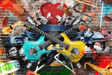 음악, 색상과 밝은 음악적 배경의 콜라주