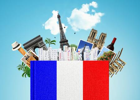 Franse taal, met de Franse vlag en bladwijzers het boek