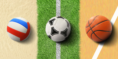 Sports balls, soccer ball on grass, basketball and volleyball