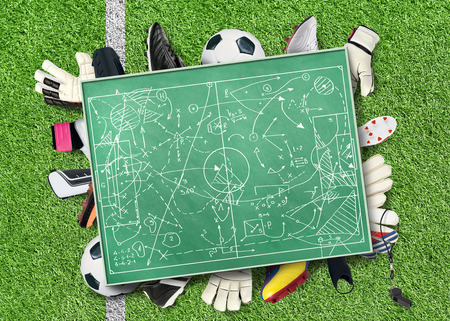 soccer coach: Football Board Stock Photo
