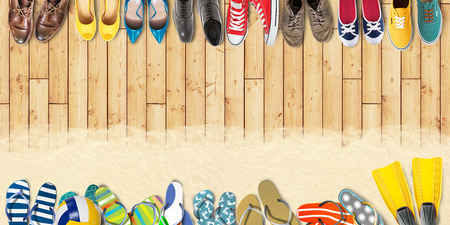 office shoes: Summer holidays office shoes colored flip flops travel Stock Photo