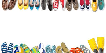 夏の休日オフィス靴色フリップフ ロップ旅行 写真素材