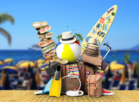 vacaciones en la playa: Equipaje, mercancías para las vacaciones, el ocio y los viajes Foto de archivo