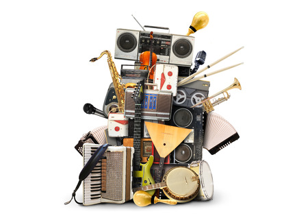 Muziek, muziekinstrumenten en vintage bandrecorders Stockfoto