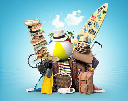Bagage, goederen voor vakantie, vrije tijd en reizen Stockfoto - 43133442