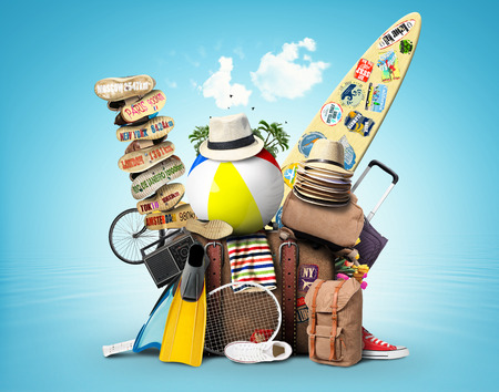 vacation  summer: Luggage, goods for holidays, leisure and travel