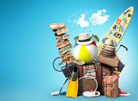 férias: Bagagem, mercadorias para as férias, lazer e viagens