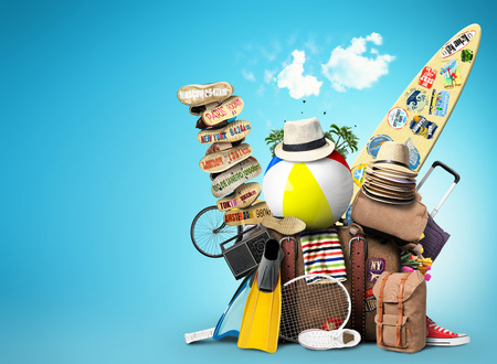 holiday summer: Luggage, goods for holidays, leisure and travel