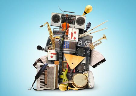 instrumentos musicales: Música, instrumentos musicales y grabadoras de cinta de la vendimia Foto de archivo