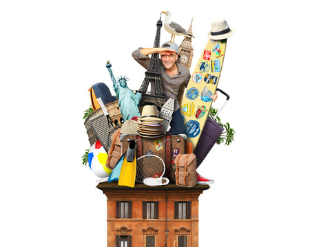 Tourist on the roof with luggage and landmarks Banque d'images