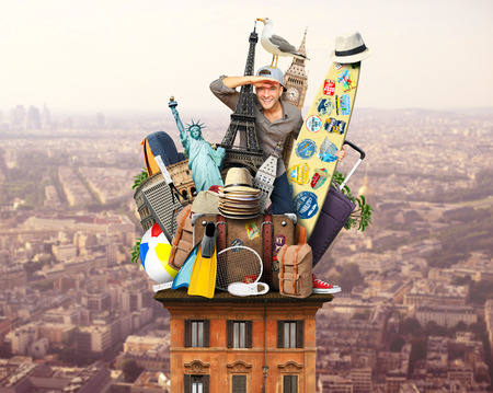 surfboard fin: Tourist on the roof with luggage and landmarks Stock Photo