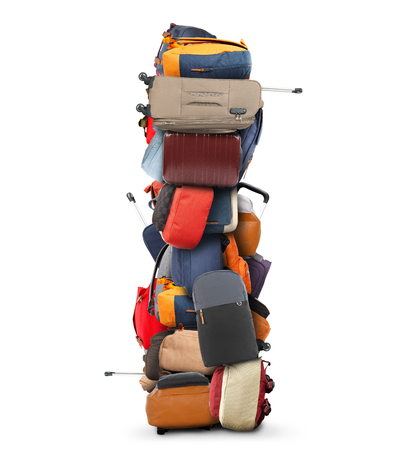 baggage: Large pile of bags and suitcases, travel