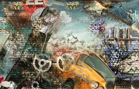 ヒップホップ、グランジ スタイルのモダンな背景 写真素材