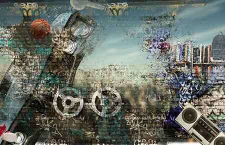 graffiti: Fondo moderno al estilo de hip-hop y el grunge Foto de archivo
