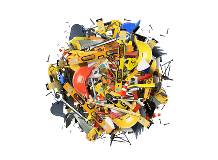 Construction tools and construction machines in the heap