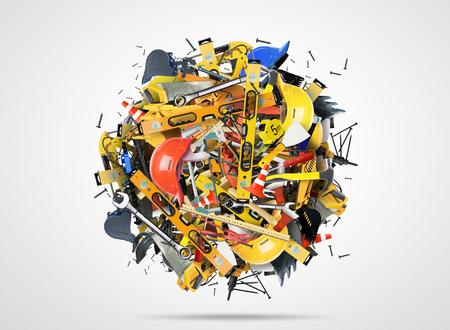 construction helmet: Construction tools and construction machines in the heap