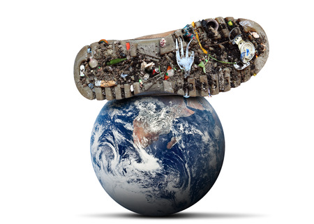 Dirty shoes is on planet Earth theme pollution