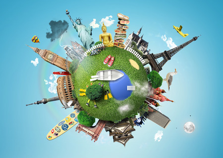 world travel: Small planet with landmarks around the world Stock Photo