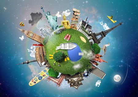 small world: Small planet with landmarks around the world Stock Photo